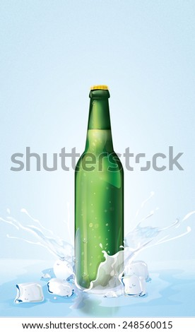 Green Beer Bottle and ice.