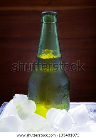 green beer bottle freezing in ice tank for beverage theme - stock photo