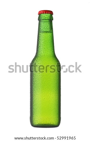 Green beer bottle isolated - stock photo