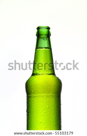 Green beer bottle isolated on white - stock photo