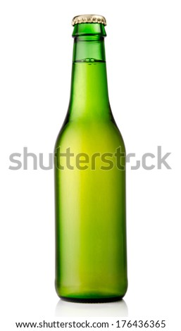 Green beer bottle isolated on white background - stock photo