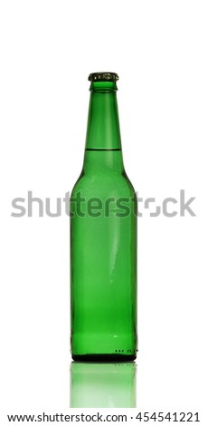 Green beer bottle isolated on white background.