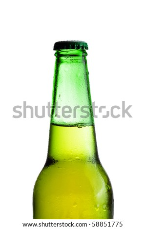 green beer bottle isolated over white