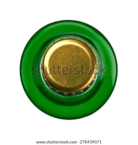 Green beer bottle, top view - stock photo