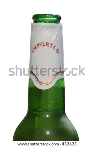 Green beer bottle with sticker isolated against a white background. (This image contains a clipping path) - stock photo