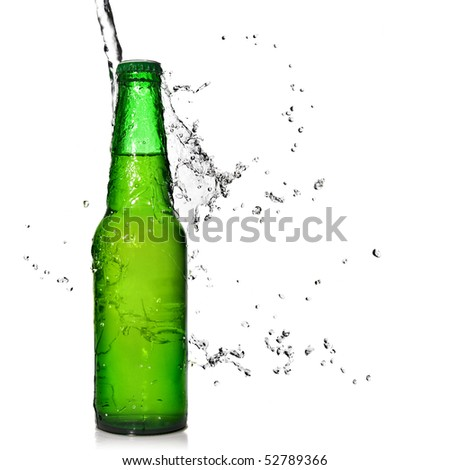 Green beer bottle with water splash isolated on white - stock photo