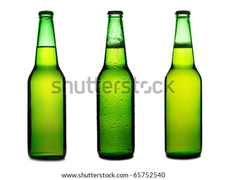 Green beer bottles set isolated on a white background - stock photo