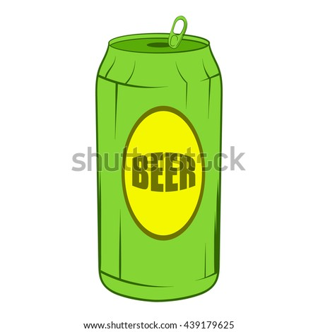 Green beer can icon, cartoon style - stock photo
