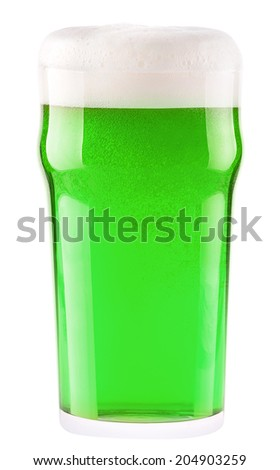green beer isolated on a white background, classic St. Patricks day beverage - stock photo