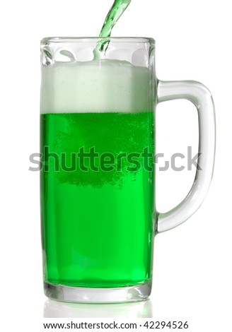 Green Beer mug isolated on white. Pouring green beer in it. - stock photo