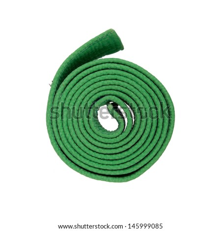 Green belt on a white background - stock photo
