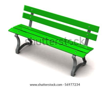 Green bench - stock photo