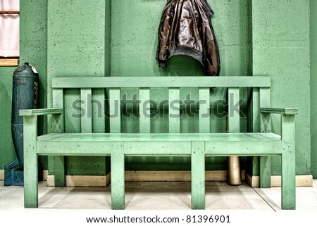 Green Bench and Flight Jacket