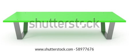 Green Bench isolated on white - 3d illustration