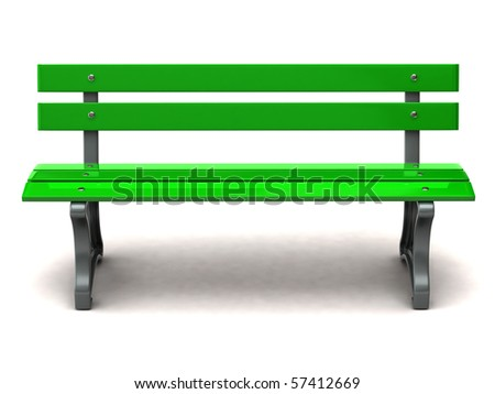Green bench on white background - stock photo