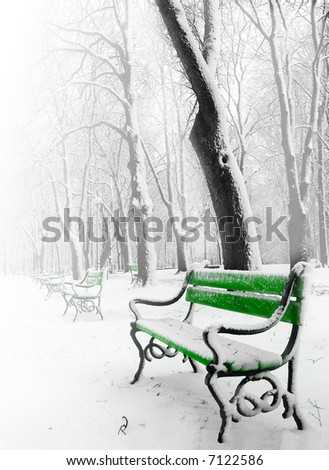 Green benches in the fog in winter - stock photo