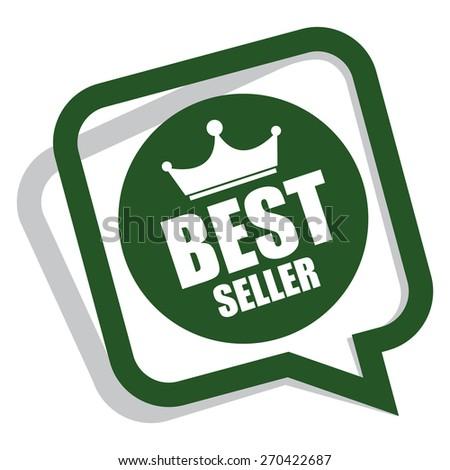 Green best seller speech bubble speech balloon sticker sign icon label