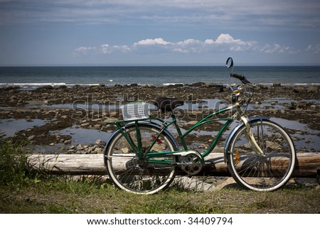 Green bicycle - stock photo