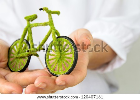 green bicycle icon - stock photo
