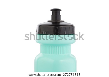 Green Bicycle water bottle  isolated on white - stock photo
