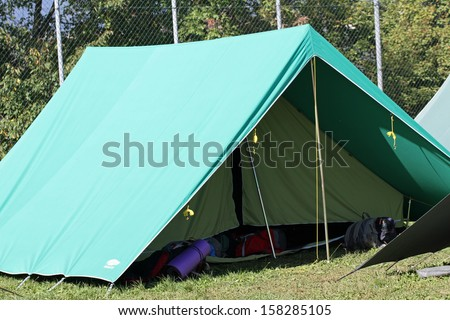 green big tent of boy scout camp - stock photo