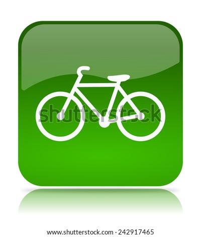 Green Bike App Icon Illustration on White Background - stock photo