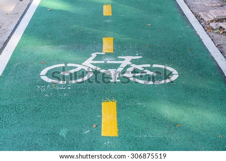 Green Bike lane for safety cyclist, close up - stock photo