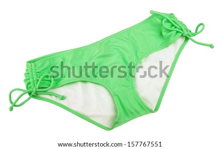 Green Bikini bottom isolated on white with clipping path