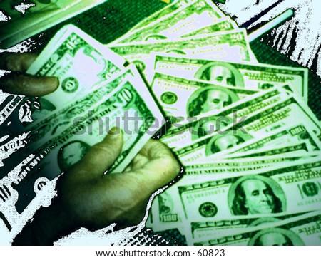 Green bills - stock photo