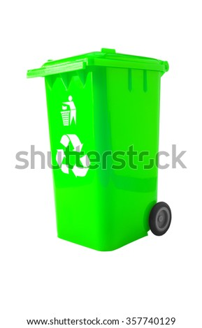 Green Bin, Trash Bin with recycle logo isolated on white with path.