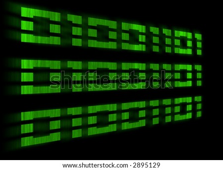 Green binary code with a motion blur on a black background - stock photo
