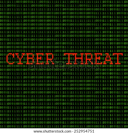 "Green binary code with the words ""Cyber Threat"" on a black background."