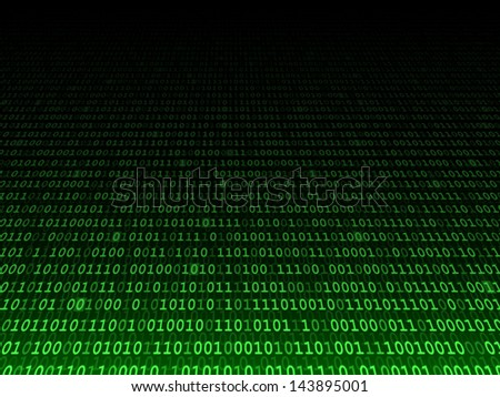 Green binary computer code. Fading background illustration