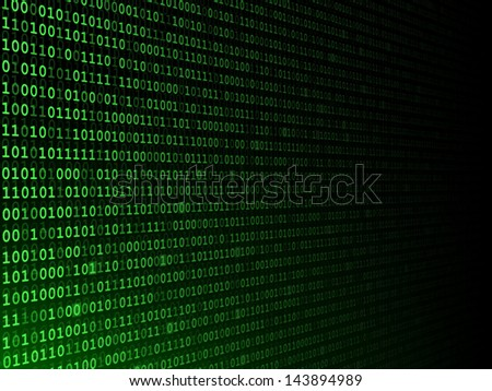 Green binary computer code fading to the right