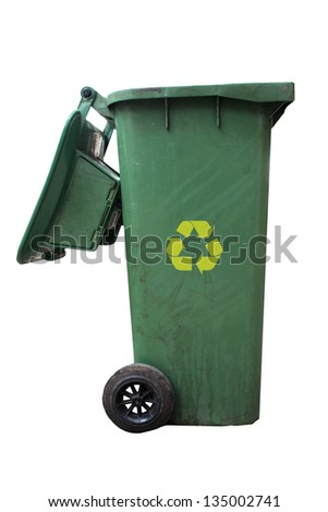 Green bins and recycle sign - stock photo