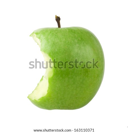 Green bitten apple isolated on white - stock photo