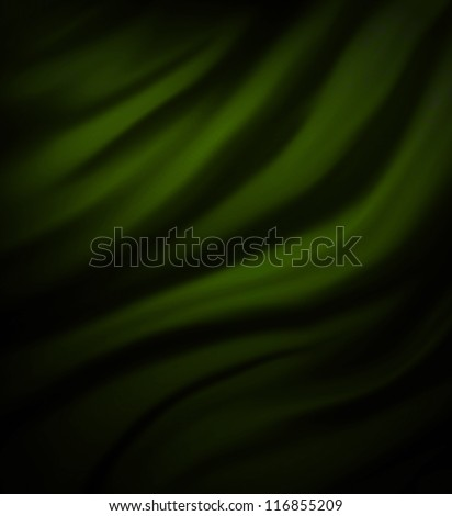 green black background abstract cloth design, wavy folds smooth silk texture satin or velvet material, dark luxurious background design of elegant curves, black material, green background Christmas ad