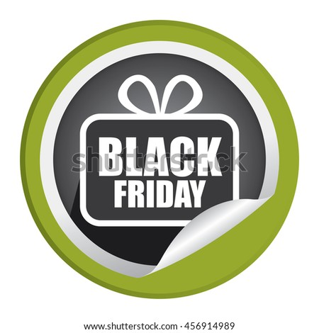Green Black Friday  Promotion Campaign Infographics Icon on Circle Peeling Sticker Isolated on White Background  - stock photo