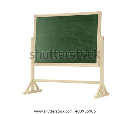 green blackboard, chalkboard isolated on white. 3d rendering. - stock photo