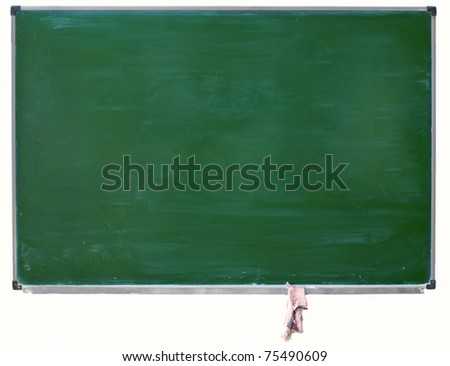 green blackboard with chalk stains and hanging rag isolated - stock photo