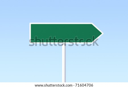 Green blank arrow sign on blue sky background - see variation in portfolio