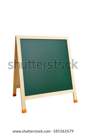 green blank Blackboard isolated on white with clipping paths - stock photo