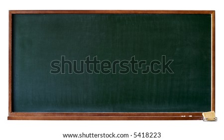 Green blank blackboard with wooden frame, chalktray and eraser. Isolated over white. Add any text, message or greeting you want. - stock photo