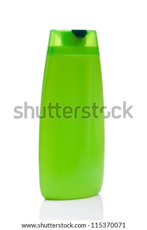 green blank bottle, isolated on white background - stock photo