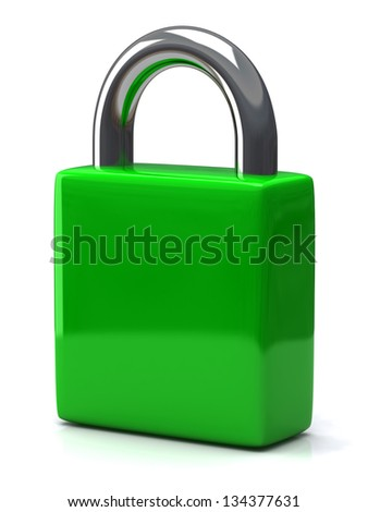 Green blank closed padlock, 3d - stock photo
