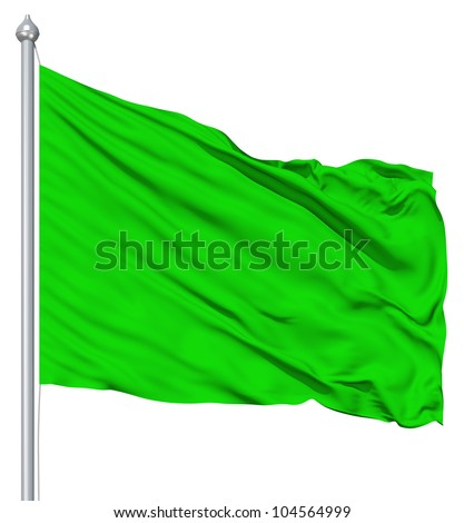 Green blank flag with flagpole waving in the wind against white background - stock photo