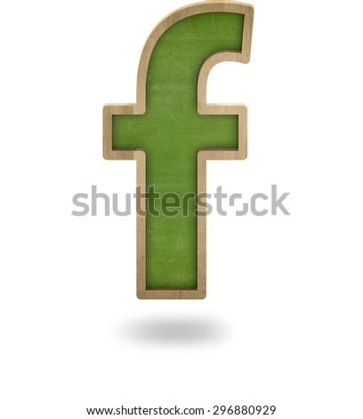 Green blank letter f shape blackboard on white background