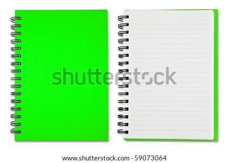 Green Blank Note Book - stock photo