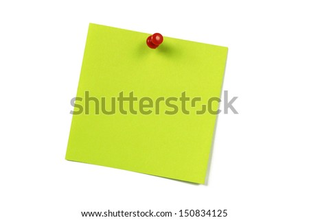 green blank note card with push pin on white - stock photo