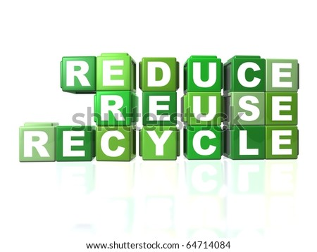 Green blocks that spells out REDUCE, REUSE & RECYCLE - stock photo